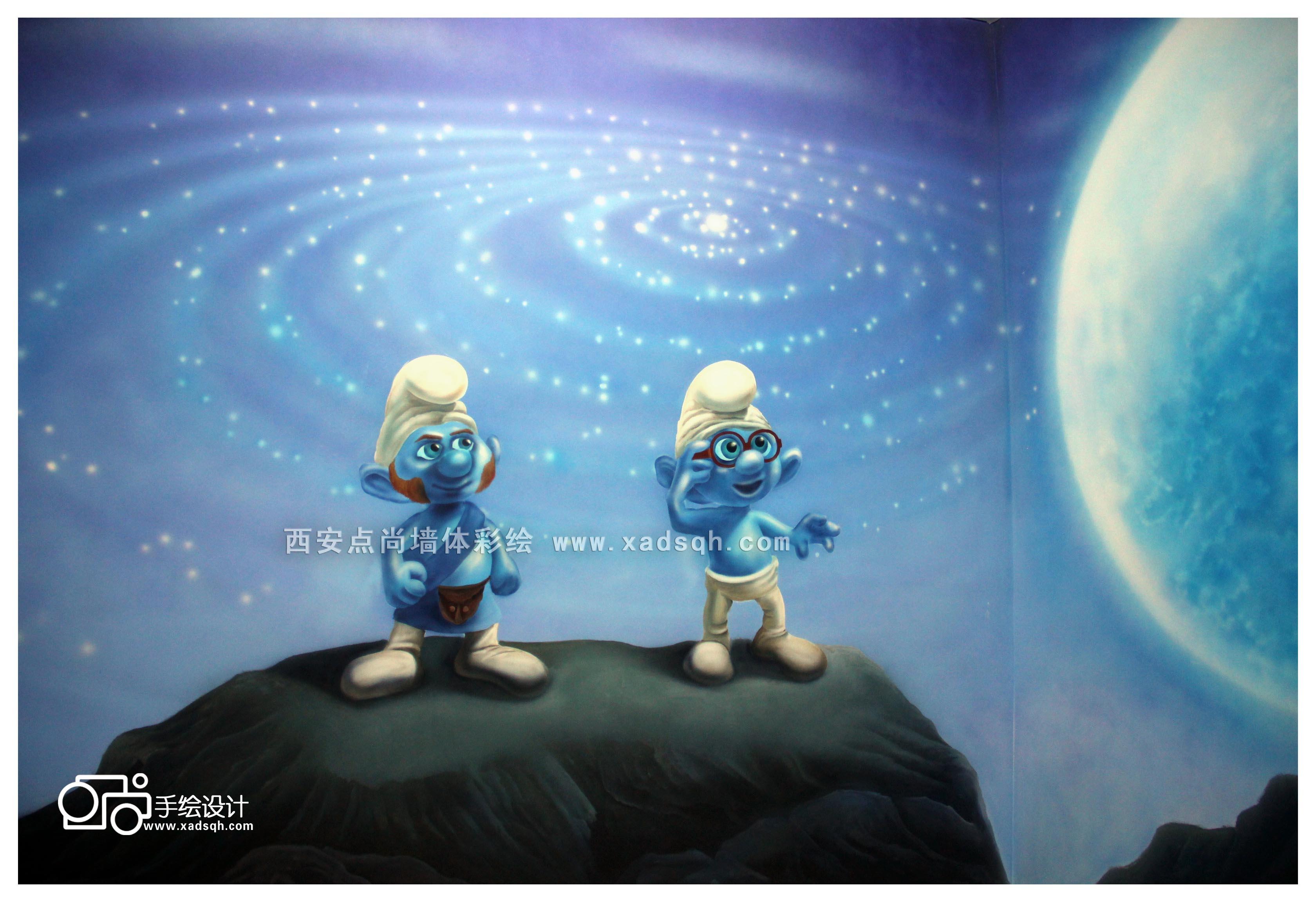 还有蓝妹妹柴柴,一群可爱的小家伙共同组成梦幻的蓝精灵主题包间.