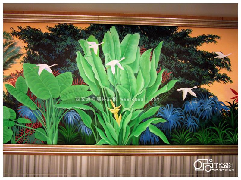 墙绘风景画 竖构图