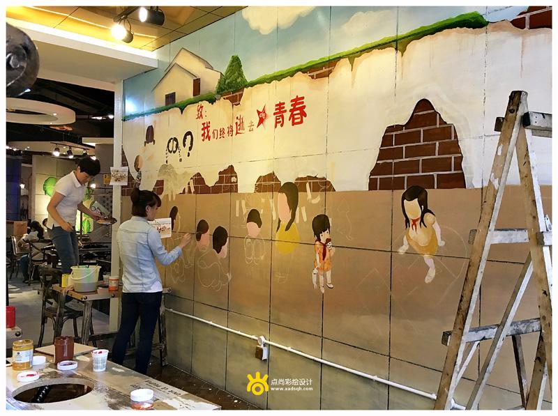 点尚彩绘------店铺彩绘 秘制汤料搭配复古怀旧风格墙绘,三哥de串